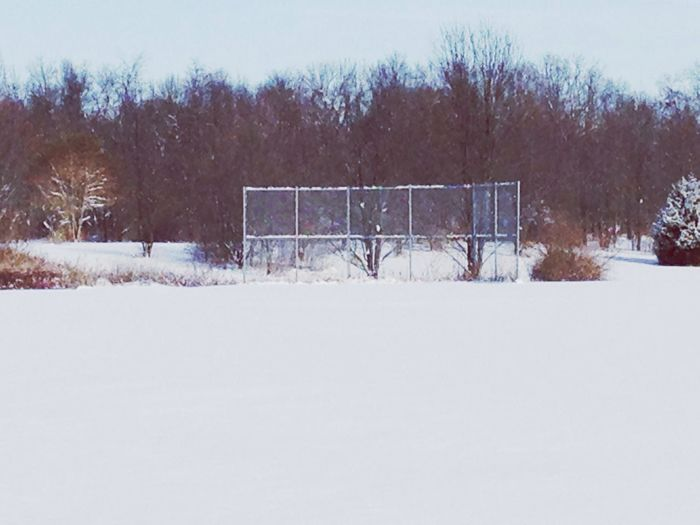 Softball diamond we put in years ago when I coached a few traveling teams. Softball Backstop Beautiful Nature Connected With Nature EyeEm Nature Lover Tree_collection  Snow Nature Fastpitch