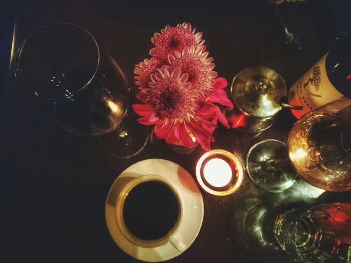 Indoors  Close-up Wine Moments Wineglass Wine Time Flowers Candlelight Candle Coffee Dinner Time Dinner Nightphotography Food And Drink Food Photography Romantic Dining Birthday No People Objects Bottle Of Wine Glass Water Mixed Drinks