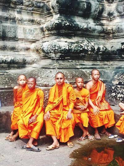 Angkor Wat Monk  Monks Religion Spirituality Famous Place Togetherness Tourism Travel Destinations Orange Color Holiday People People Photography Original Photography Siem Reap Travel Photography Peacefully Peace And Quiet Been There.