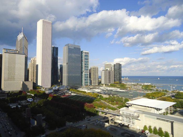 Elevated view of millennium park