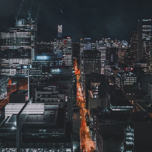 Cities At Night The Architect - 2016 EyeEm Awards Night City Cityscapes Moon Urban Rooftop Roof Night Photography Night Lights Nightphotography Architecture A Bird's Eye View
