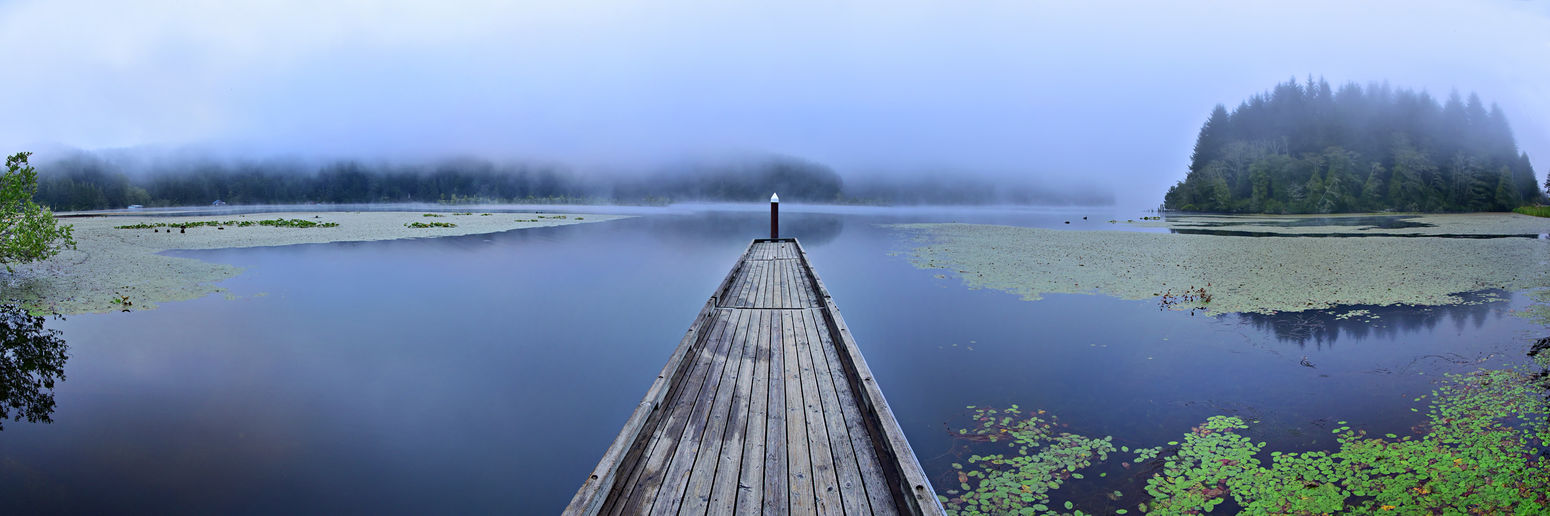 Lost In The Landscape Panorama Panoramas Peaceful View Perspective Beauty In Nature Day Fog Jetty Lake Mist Nature No People Outdoors Panoramic Photography Pier Reflection Scenics Sky Tranquility Tree Water Winter Wood - Material