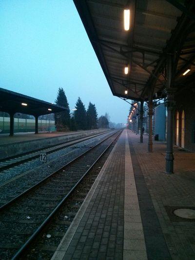 Varel Hauptbahnhof. · Germany Train Station Railroad Railroad Tracks Early Morning Winter Day Cold Lines Perspective Horizon