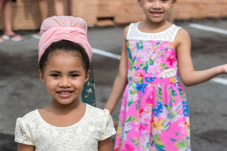 Two People Portrait Girls Looking At Camera Child Childhood Front View Togetherness Smiling Day Outdoors Children Only Happiness Summer Females Cheerful Syracuse Ny Urban Headwear Fashion African American City Hat Sommergefühle Wescott Street Festival
