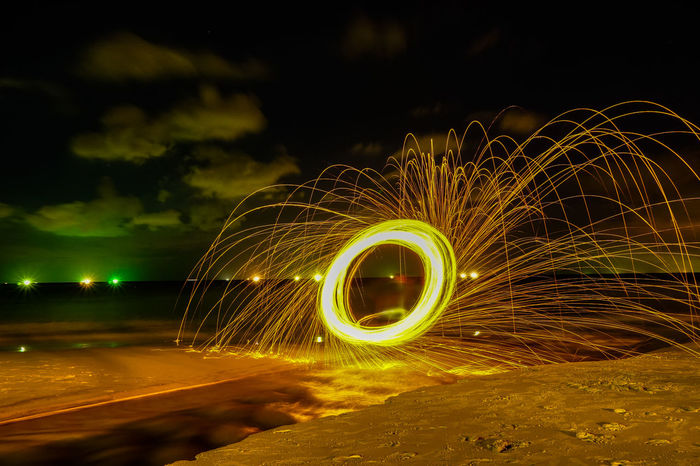 Night Motion Illuminated Long Exposure Wire Wool Blurred Motion Glowing Spinning Circle Nature Speed Geometric Shape Outdoors Light Trail Sparks Steel Wool, Fire Work, Heart Shape Smile Angray Burning One Person Shape Sign Fire