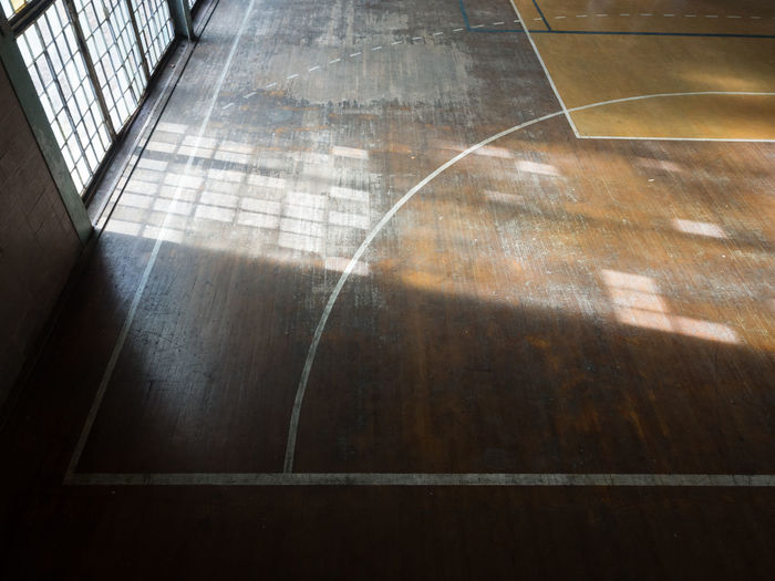 High angle view of old basketball field