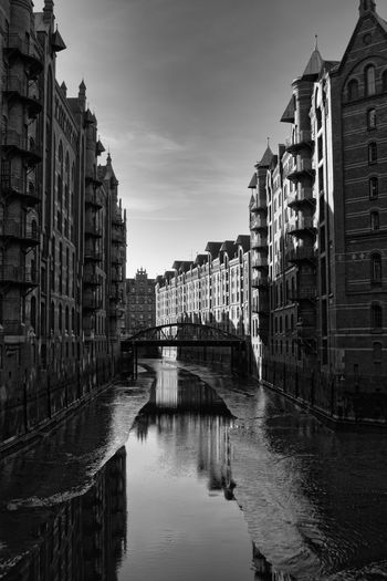 Architecture Built Structure Water Building Exterior Building City Sky Residential District Waterfront Nature Canal No People Reflection Transportation Connection Bridge Outdoors Day Streetphotography Blackandwhite Hamburg