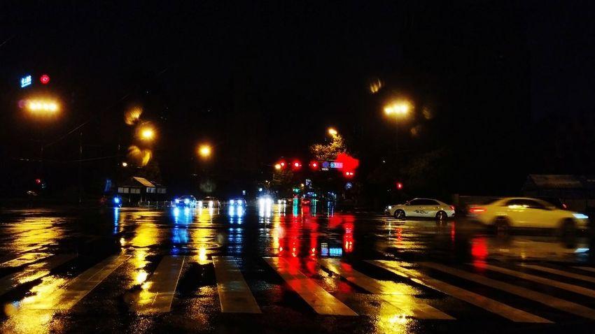 Night City Motor Vehicle Transportation Car Street Illuminated