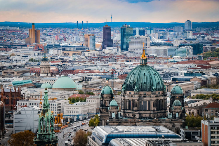 Architecture Berlin Berlin City Berlin Mitte Berliner Dom Building Exterior Built Structure City Cityscape Day Dome High Angle View Kollhoff Tower Moody Sky No People Outdoors Place Of Worship Potsdamer Platz Religion Sky Skyline Spirituality