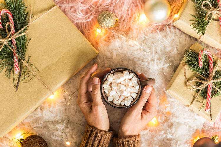 High angle view of woman holding cup of cocoa with marshmallow