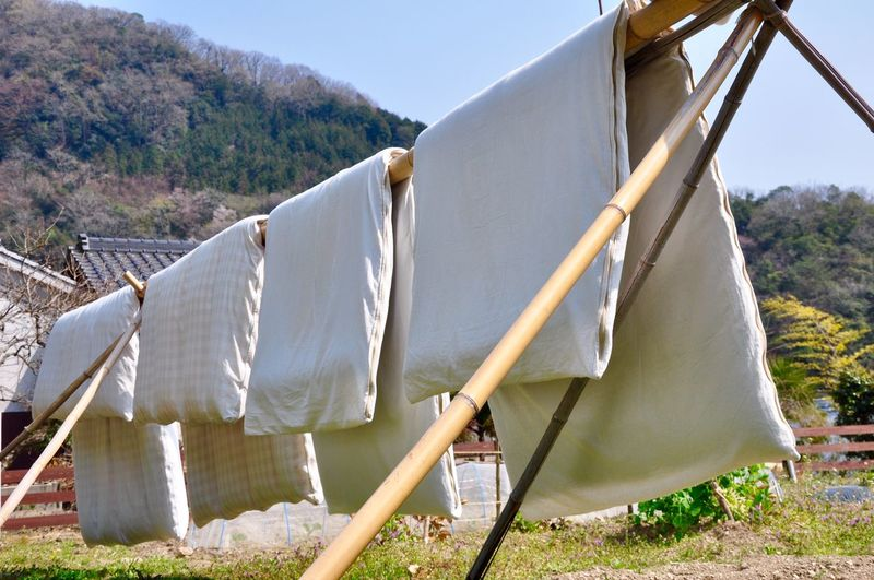 Clothes drying on clothesline on field against sky