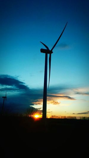 New Energy Windmill Renewable Energy Sunset Silhouettes Schladen