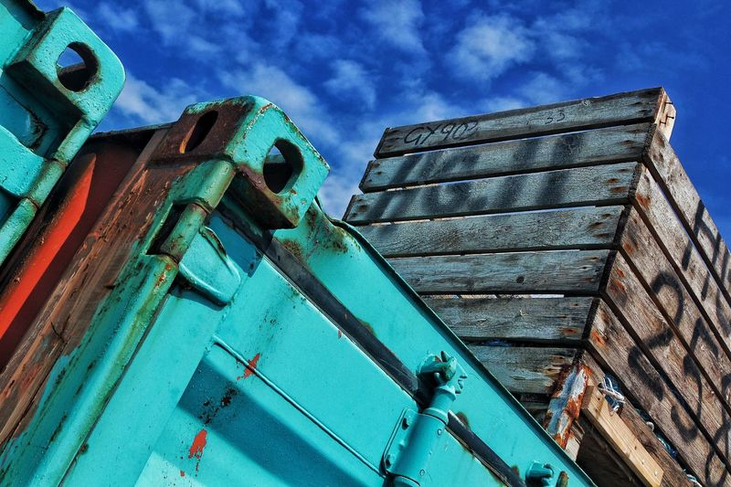 Crate Container Sea Container Transport Blue Aquamarine Blue Sky Wooden Crare Transport Container Harborside Harbor Area Erosion Portside Abstract