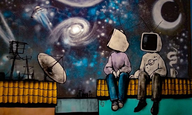 art by Azy Sky Atmosphere Astronomy NASA Street Art Streetphotography Street Art/Graffiti Illustration Grafffiti Art Graffiti Close-up Sky Spiral Galaxy Milky Way Modern Art Star - Space Space And Astronomy Star Trail Constellation