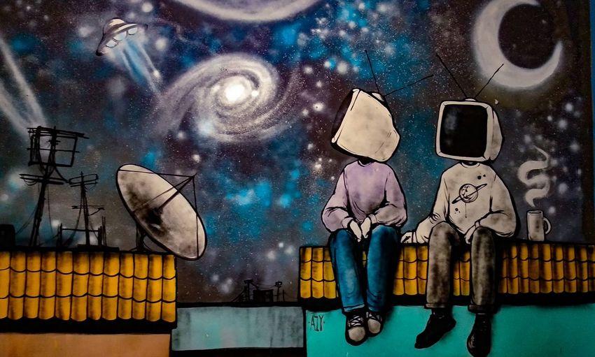 art by Azy Sky Atmosphere Astronomy NASA Street Art Streetphotography Street Art/Graffiti Illustration Grafffiti Art Graffiti Close-up Sky Spiral Galaxy Milky Way Modern Art Star - Space Space And Astronomy Star Trail Constellation