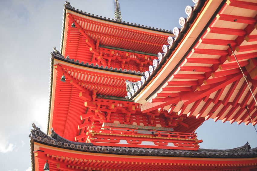 Architecture Building Exterior Built Structure City Cultures Day Japan Kyoto Low Angle View No People Outdoors Place Of Worship Red Religion Roof Shrine Shrine Of Japan Sky Spirituality Traditional Building Travel Destinations
