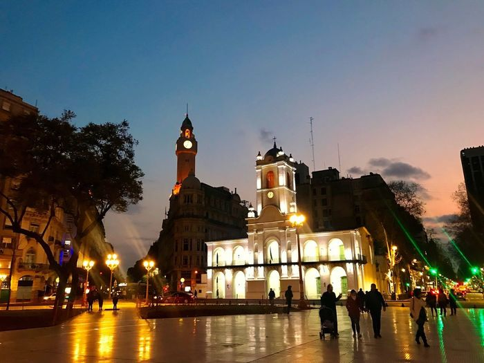 Mayo Square Plaza De Mayo Street Lights Clouds Sky Silhouettes Town Hall Capital Cities  Architecture Built Structure Building Exterior Sky Group Of People Illuminated Tree Travel Destinations City Travel Large Group Of People