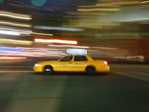Fast Yellow Cab - NYC ... Yellow Cab Cab Drive Manhattan Blurred Motion Night Speed Illuminated Motion Taxi Transportation Yellow Yellow Taxi Mode Of Transport