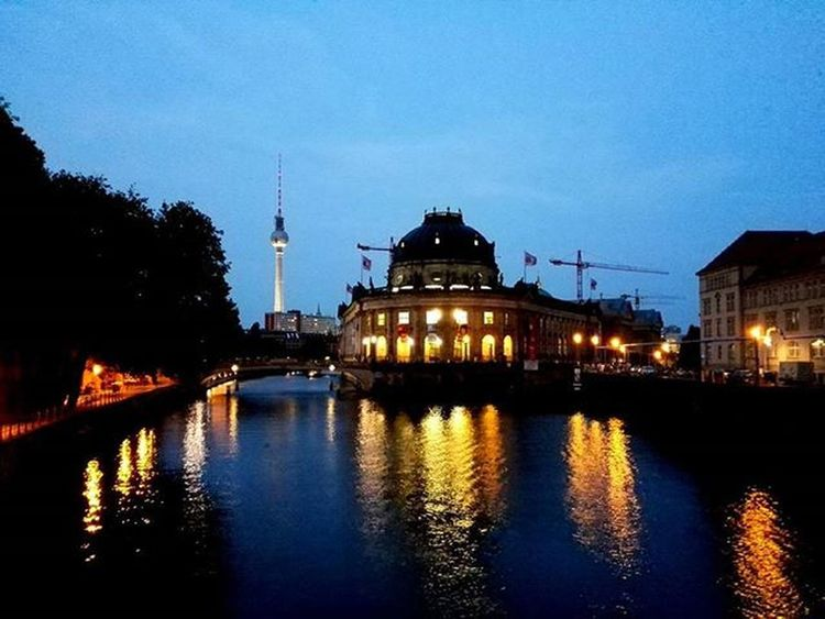 Germany Berlin City Alexanderplatztower River Bluesky