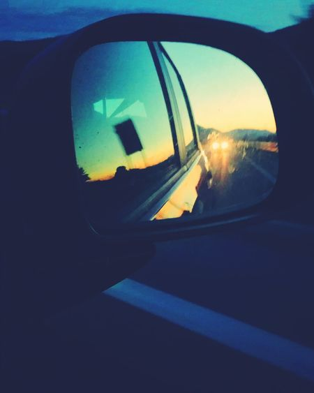 Looking out.....(on instagram: @federica_nav) Mountain Sunset Inlove Mountain View Mountainsky Reflection Transportation Window Car Side-view Mirror Sky Day Multi Colored Happiness Tranquility Freedom Followme Follow on instagram:federica_nav