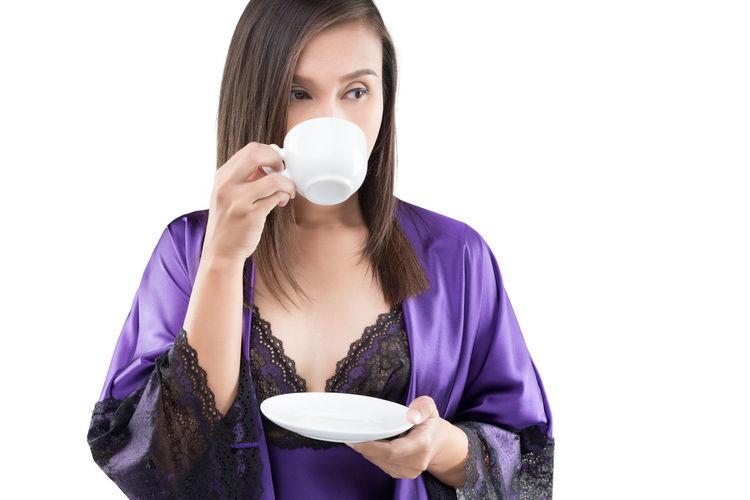 Drinking Coffee Good Morning Drink Hot Woman Wake Up Nightgown Tea Cup Beverage Good Night Break Asian  Girl Thai People Nightwear Sleepwear Nightdress