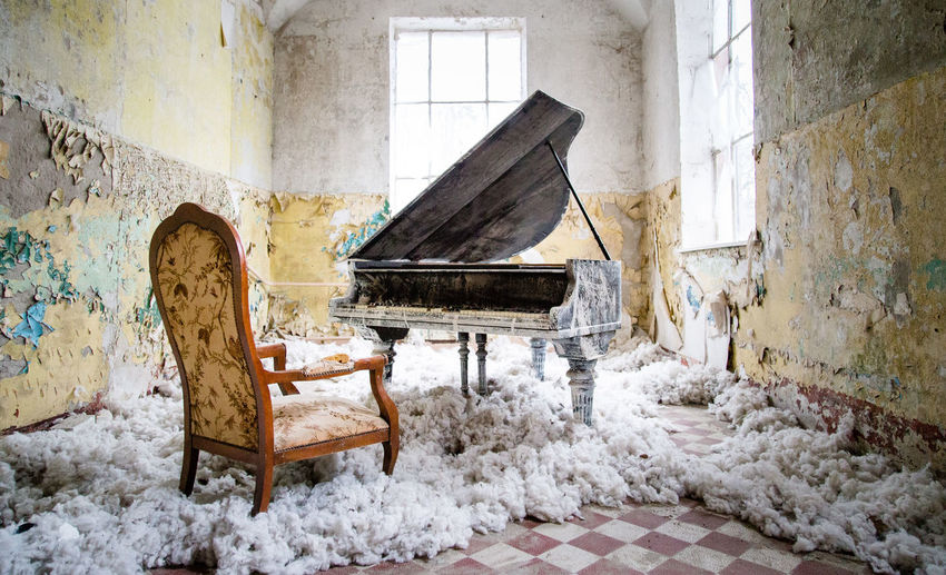 Piano in abandoned building