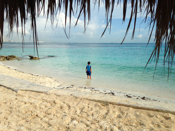 Kid enjoying the beach Isla Mujeres Mexico Travel Beach Beauty In Nature Boy Horizon Over Water Kid Leisure Activity Lifestyles Palm Tree Sand Sea Summer Tranquility Travel Destinations Water
