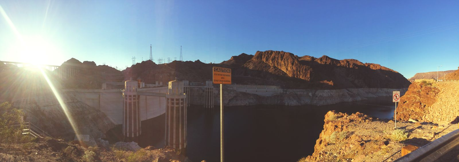 A panorama from my visit to the Hoover Dam Lens Flare Mountain Architecture Outdoors First Eyeem Photo