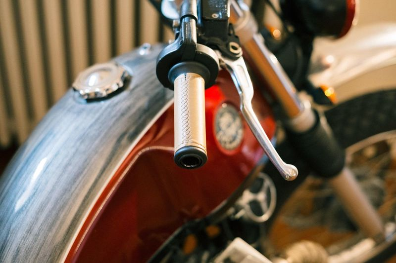 High angle view of motorcycle handle