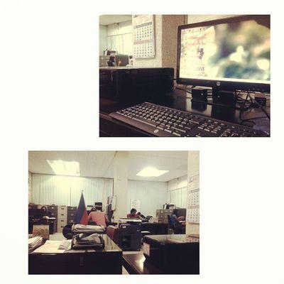 The Office and my desk. Rainyafternun