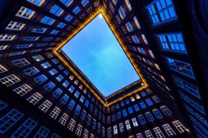 Architecture Blue Built Structure Chilehaus Chilehaus Hamburg Clear Sky Gemany  Hamburg No People Sky Square Upshot Window