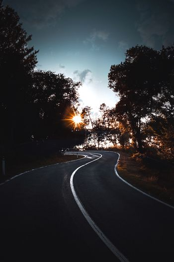 Road amidst silhouette trees against sky during sunset