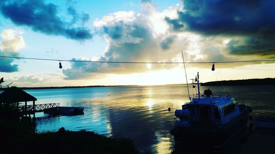 Water Bird Sea Sunset Fisherman Nautical Vessel Silhouette Sky Cloud - Sky
