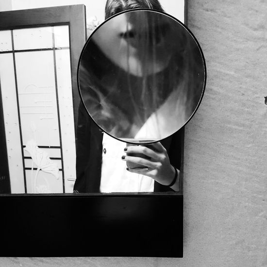 Self portrait Indoors  One Person Adults Only People Adult Human Body Part Day Close-up Portrait Of A Woman Self Portrait Young Adult Human Hand Mirror Tranquility VSCO Vscocam Travelphotography Blackandwhite