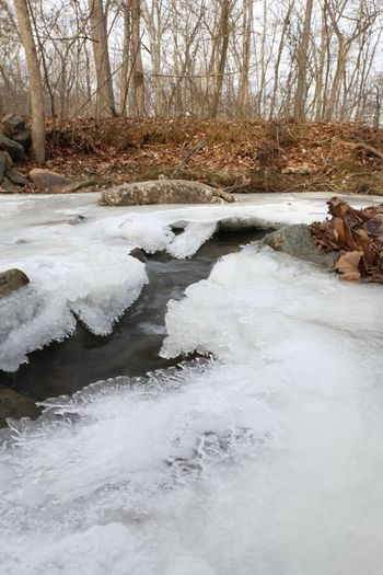 Scenic view of river stream during winter