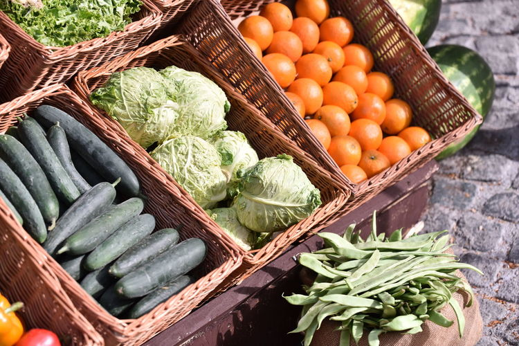 High angle view of vegetables in basket for sale at market stall