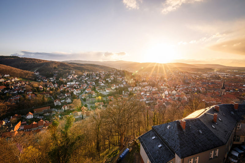 Guten Morgen Wernigerode Wernigerode Architecture Autumn Bright Building Building Exterior Built Structure Change City Cityscape Cloud - Sky Day Environment High Angle View Landscape Lens Flare Mountain Nature Outdoors Residential District Scenics - Nature Sky Sun Sunlight TOWNSCAPE