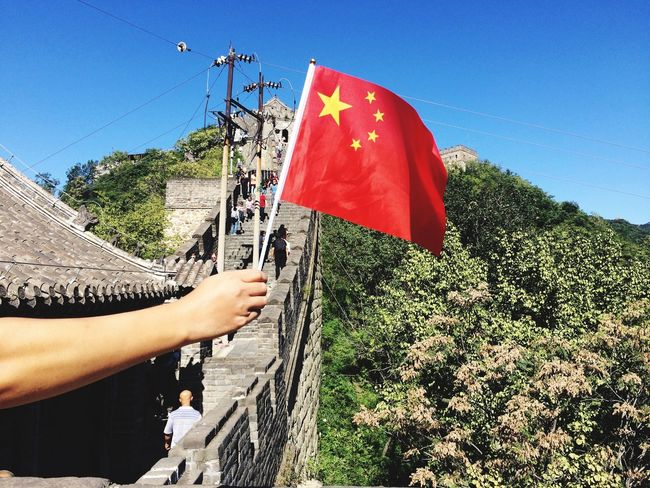 Chinese flag at Flag Wonder Of The World The Great Wall Of China Great Wall Of China Travel Photography Patriotism Communism China Chinese Flag The Great Wall of China