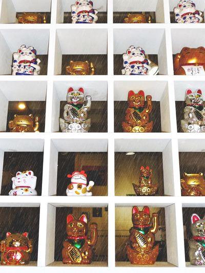 Maneki-nego, Lucky cat, Lucky, Lucky cats, shelf, good luck, new year, talisman, luckiness, fortune, abundance, many Lucky Cat Good Luck Good Luck! Talisman Manekineko Interior Style Misshappiness Beautifully Organized Maneki-neko