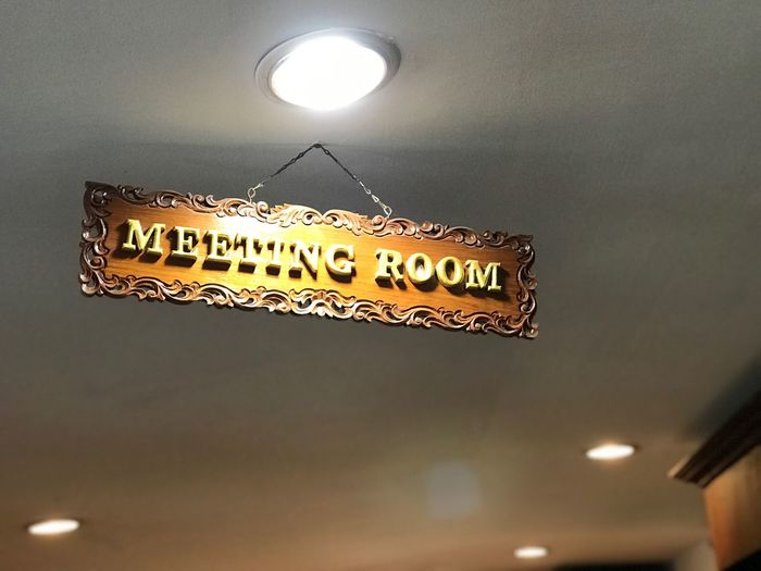 Meeting room way Metting Room Metting Text Communication Western Script Illuminated Night Low Angle View Lighting Equipment Information Sign Dusk Indoors  Moon No People Sky Script Built Structure Non-western Script Sign Information Architecture Message