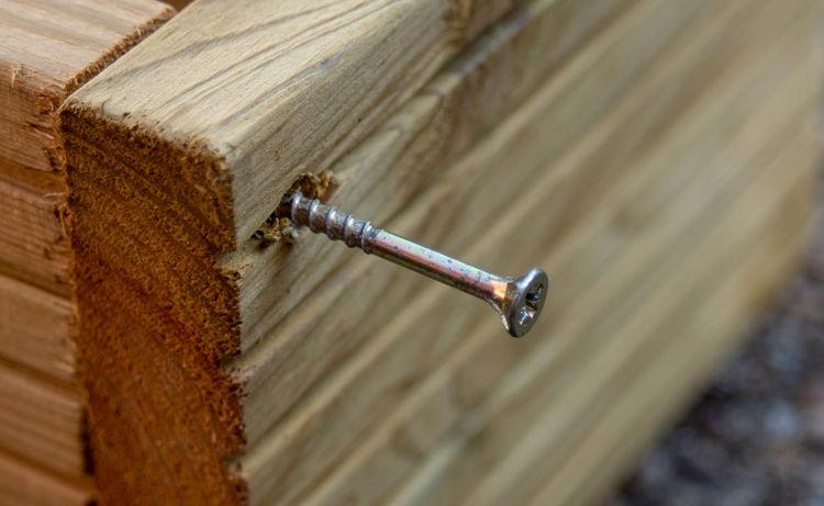 Screw in decking wood Screw Screws Summer DIY Wood Wood - Material Decking Decking Wood Planter EyeEm Selects Close-up