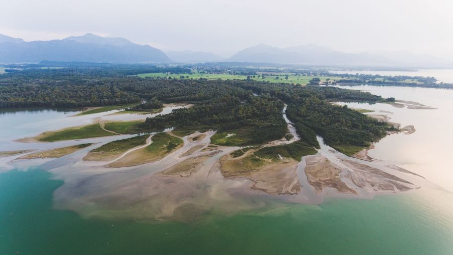 Who would think that Germany can look like this.. Mountain Lake Delta Chiemsee Alps Aerial View Aerial Shot Nature Water Beauty In Nature River Tiroler Ache Outdoors Bavaria Protected Area