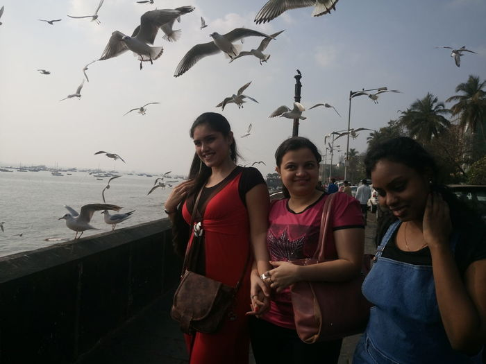 Seagulls Flying Over Happy Female Friends On Footpath By Sea