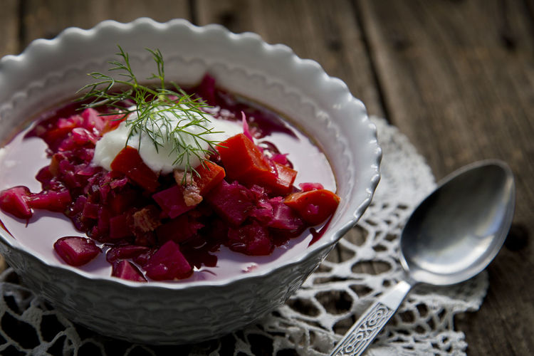 Close-Up Of Borscht Served On Table