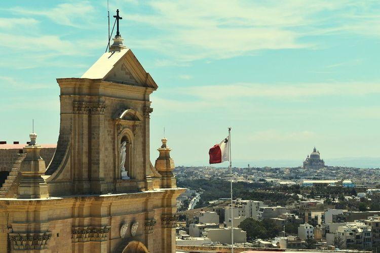 Malta Maltese Islands Gozo Island Gozo Cittadella Churches Horizon Malteseflag Flag