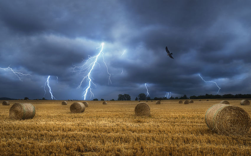 Scenic view of field against storm clouds