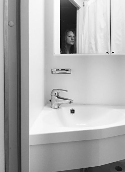 Self Portrait Portrait Female Iphonography Iphoneonly Blackandwhite Bathroom Washbasin Alone Travel Cabin Atsea White Clean Looking In