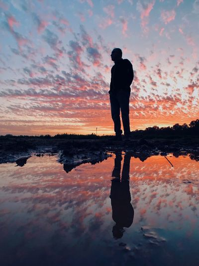מייקובי מיימומנט מייטבע מייחדרה ShotOnIphone IPhoneX מייאייפון10 Reflection Sunset Sky Standing Water One Person Cloud - Sky Analogue Sound