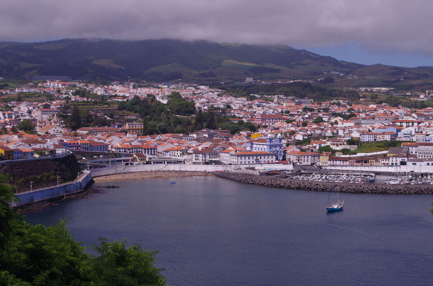 Azores Angra Do Heroismo Bay Built Structure City Cityscape Coast High Angle View Landscape Mountain Terceira Town Yacht