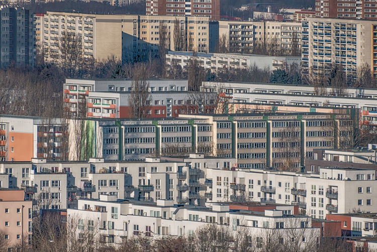 modern residential buildings in Berlin Marzahn Plattenbau Architecture Balcony Building Exterior Built Structure City Cityscape Day Hellersdorf No People Outdoors Residential Building